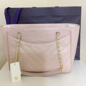Tory Burch Alexa Quilted Medium Tote Shell Pink